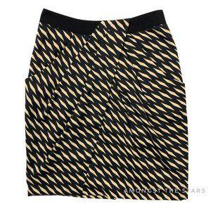 Anthropologie Fei Black Gold Washi Wrap Silk Skirt